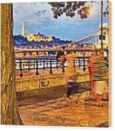 Budapest By Night Paint Wood Print
