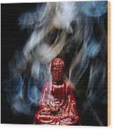 Buddha In Smoke Wood Print