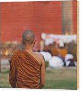 Buddhist Monk At Lumbini In Nepal Wood Print by Robert Preston