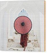 Buddhist Monk Walking Along Temple Wood Print