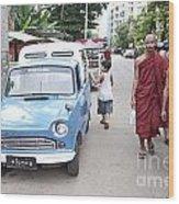 Buddhist Monks In Yangon Street Myanmar Wood Print