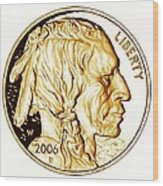 Buffalo Nickel Wood Print by Fred Larucci