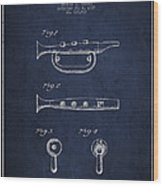 Bugle Call Instrument Patent Drawing From 1939 - Navy Blue Wood Print