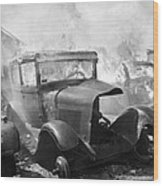 Burning Car Circa 1942  Wood Print