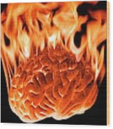 Burning Human Brain Wood Print