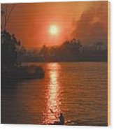 Bushfire Sunset Over The Lake Wood Print