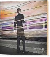 Business Man At Train Station Railway Platform Wood Print