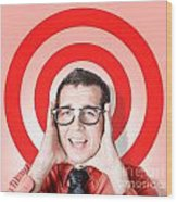 Business Man In Fear On Target Background Wood Print