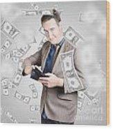 Businessman Under Falling Money. Financial Success Wood Print