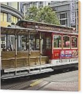 Cable Car On Turntable San Francisco Wood Print