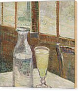 Cafe Table With Absinth  Wood Print