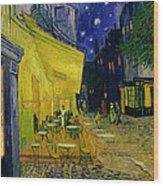 Cafe Terrace Arles Wood Print by Vincent van Gogh