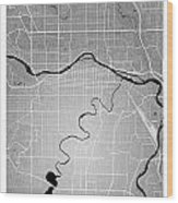 Calgary Street Map - Calgary Canada Road Map Art On Colored Back Wood Print