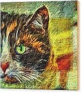 Calico Kitty Wood Print