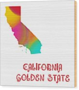 California State Map Collection 2 Wood Print