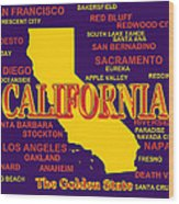 California State Pride Map Silhouette  Wood Print