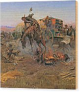 Camp Cook's Troubles Wood Print by Charles M Russell