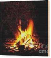 Campfire As A Symbol Of Warmth And Life On Black Wood Print