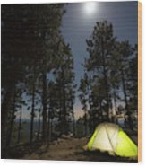 Camping On The Rim Wood Print