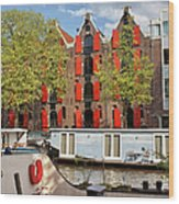 Canal In The City Of Amsterdam Wood Print