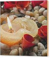 Candle And Petals Wood Print