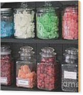 Candy In Container On Store Shelf Wood Print