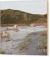 Canoe Tent Camp At Yukon River In Taiga Wilderness Wood Print