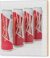 Cans Of Budweiser Beer Wood Print