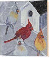 Cardinals In The  Snow Wood Print