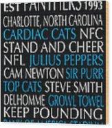 Carolina Panthers Wood Print by Jaime Friedman