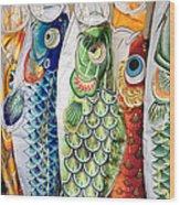 Carp Kites Wood Print