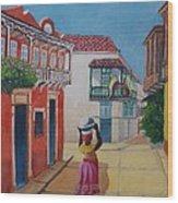 Cartagena Seller Wood Print