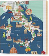 Cartoon Map Of Italy Wood Print