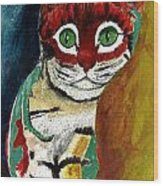 Cat Around Corner Wood Print