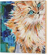 Cat Orange Wood Print