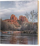 Cathedral Rocks Sunset Wood Print
