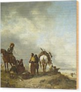 Seashore With Fishwives Offering Fish Wood Print