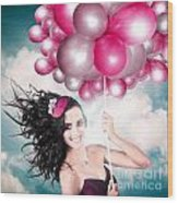 Celebration. Happy Fashion Woman Holding Balloons Wood Print