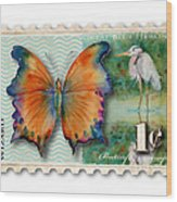 1 Cent Butterfly Stamp Wood Print