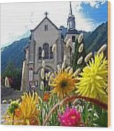 Chamonix Church Wood Print