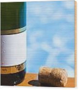 Champagne Bottle And Cork Wood Print