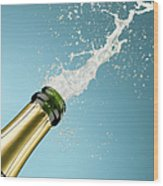 Champagne Exploding From Bottle Wood Print