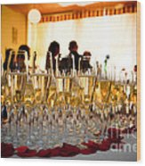 Champagne Glasses At The Party Wood Print