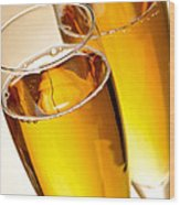 Champagne In Glasses Wood Print
