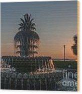 Pineapple Fountain Charleston Sc Sunrise Wood Print