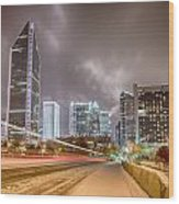 Charlotte Nc Usa Skyline During And After Winter Snow Storm In January Wood Print