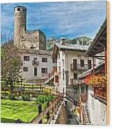 Chatelard Village With Castle Wood Print