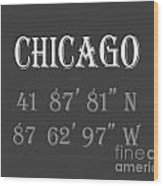 Chicago Coordinates Wood Print