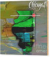 Chicago Illinois Map Watercolor Wood Print