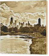Chicago In Sepia Wood Print